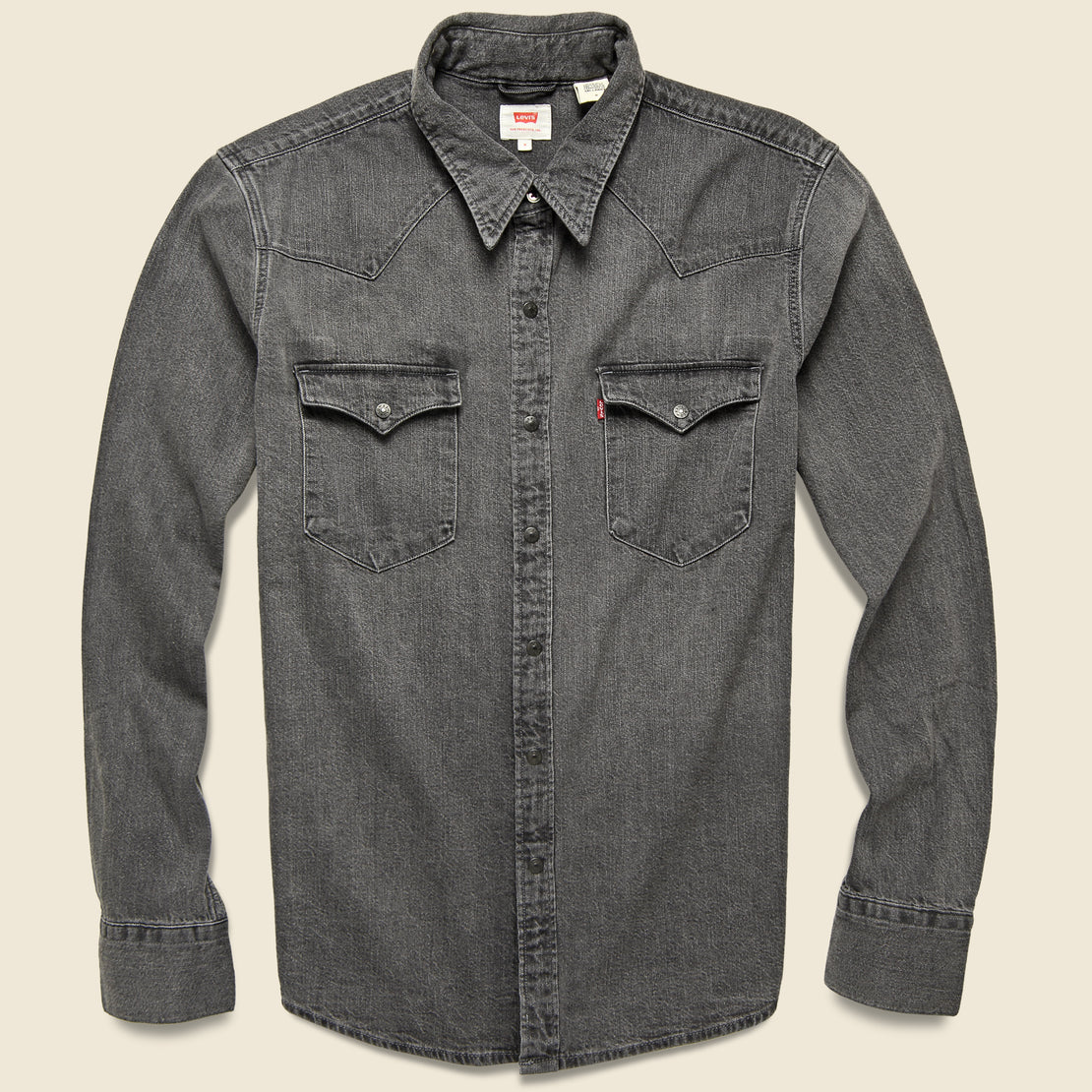 Levis Premium Barstow Western Denim Shirt - Black Worn In