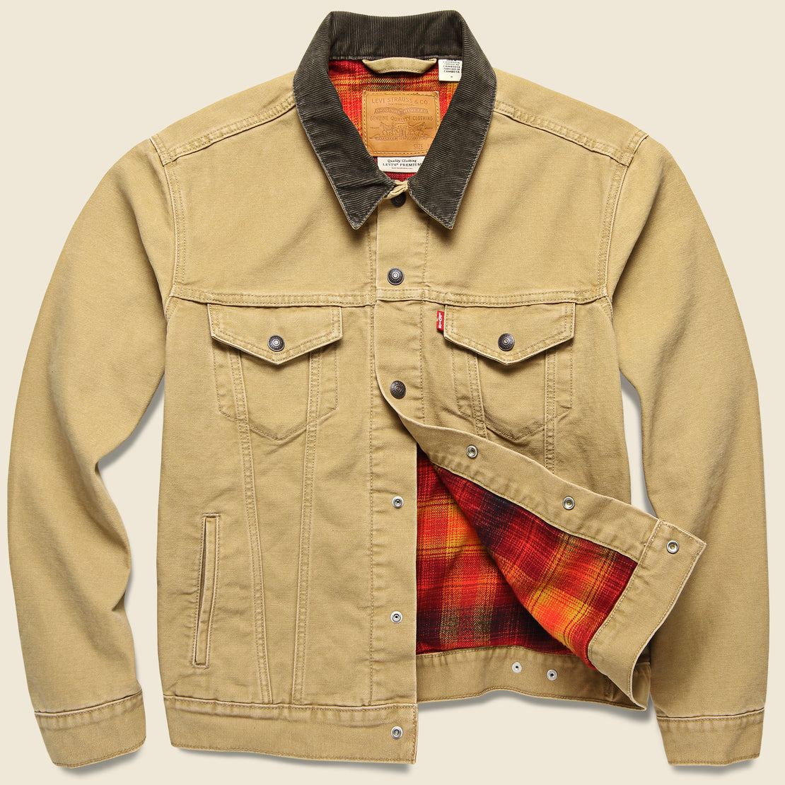 Lined Trucker Jacket - Dijon Canvas