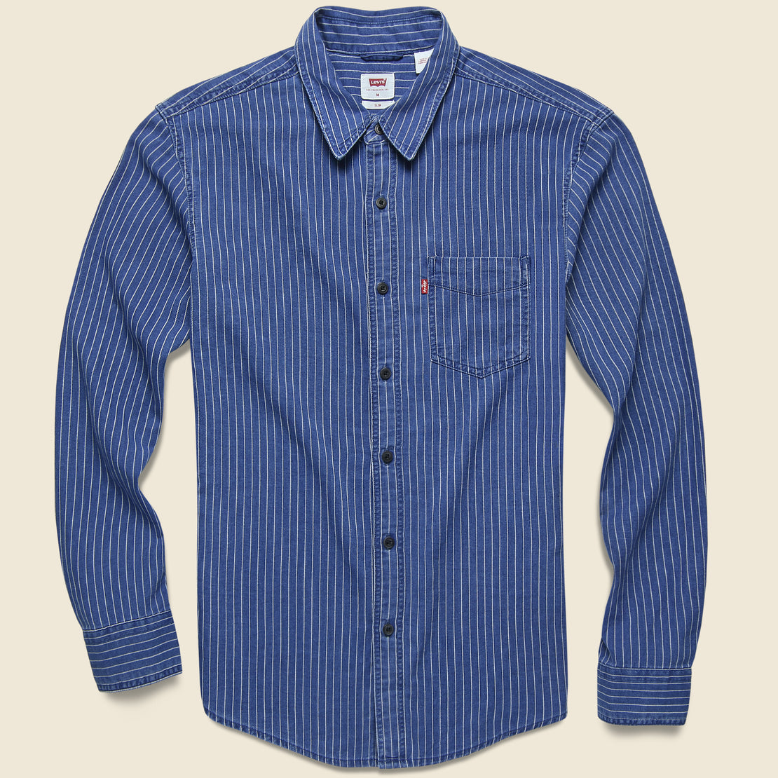 Levis Premium Sunset One-Pocket Slim Shirt - Indigo Stripe