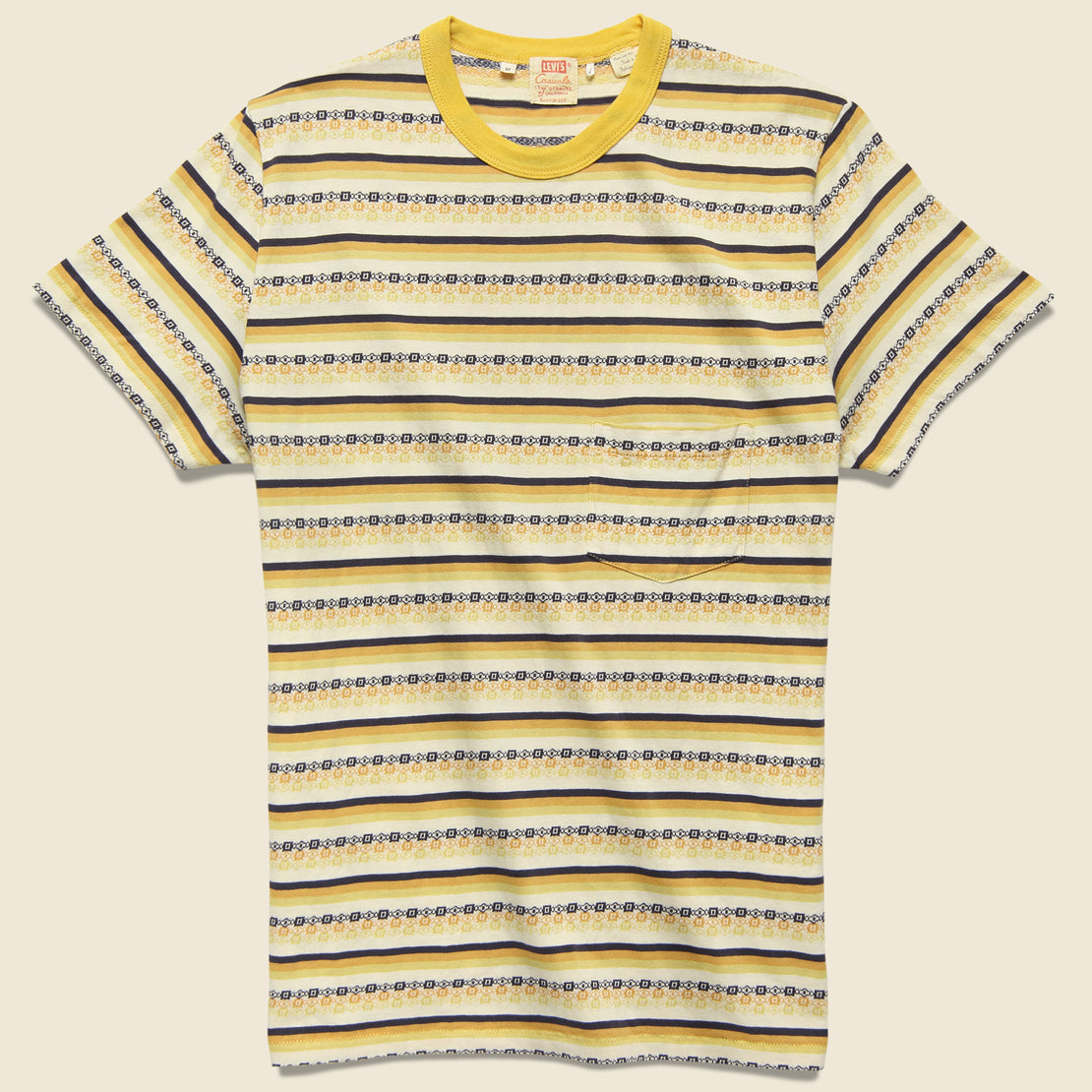 Levis Vintage Clothing 1960s Casual Stripe Tee - Custard Stripe Jacquard
