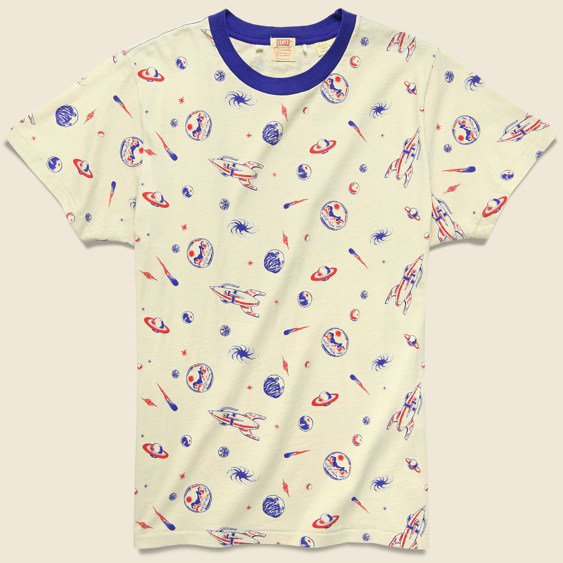 Levis Vintage Clothing Spaced All Over Graphic Tee - Creme Brulee