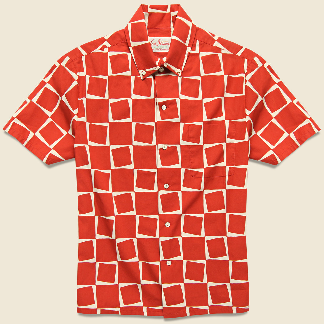 Levis Vintage Clothing 1950s Atomic Square Print Shirt - Red