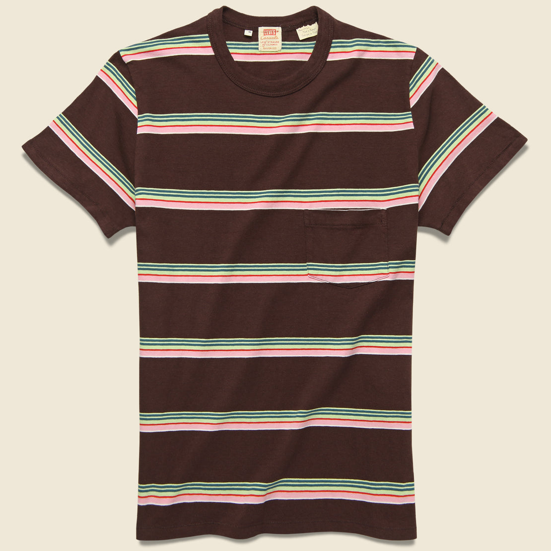 Levis Vintage Clothing 1960s Casual Stripe Tee - Brown