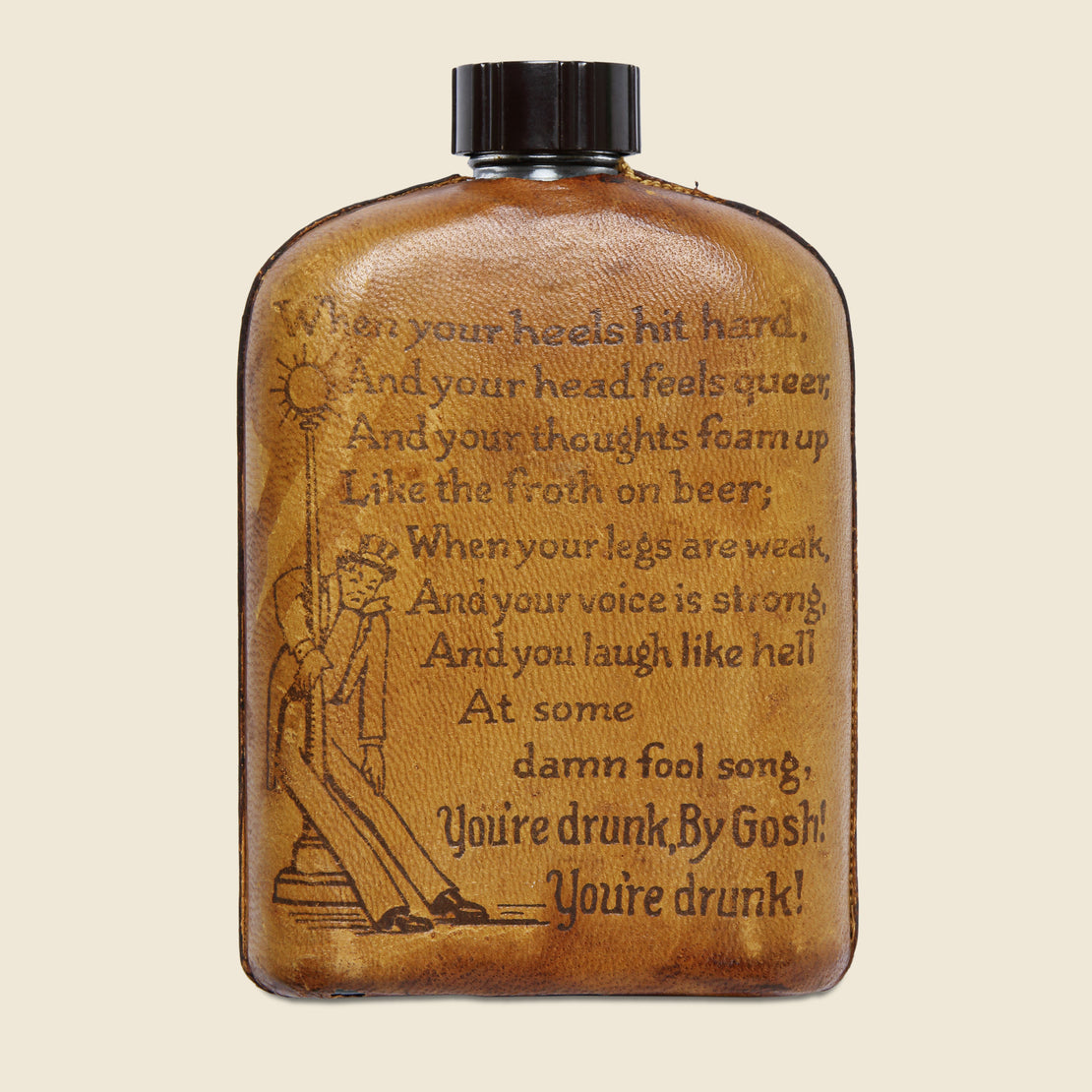 "Vintage Stamped Leather Flask - ""Mohawk Trail"""