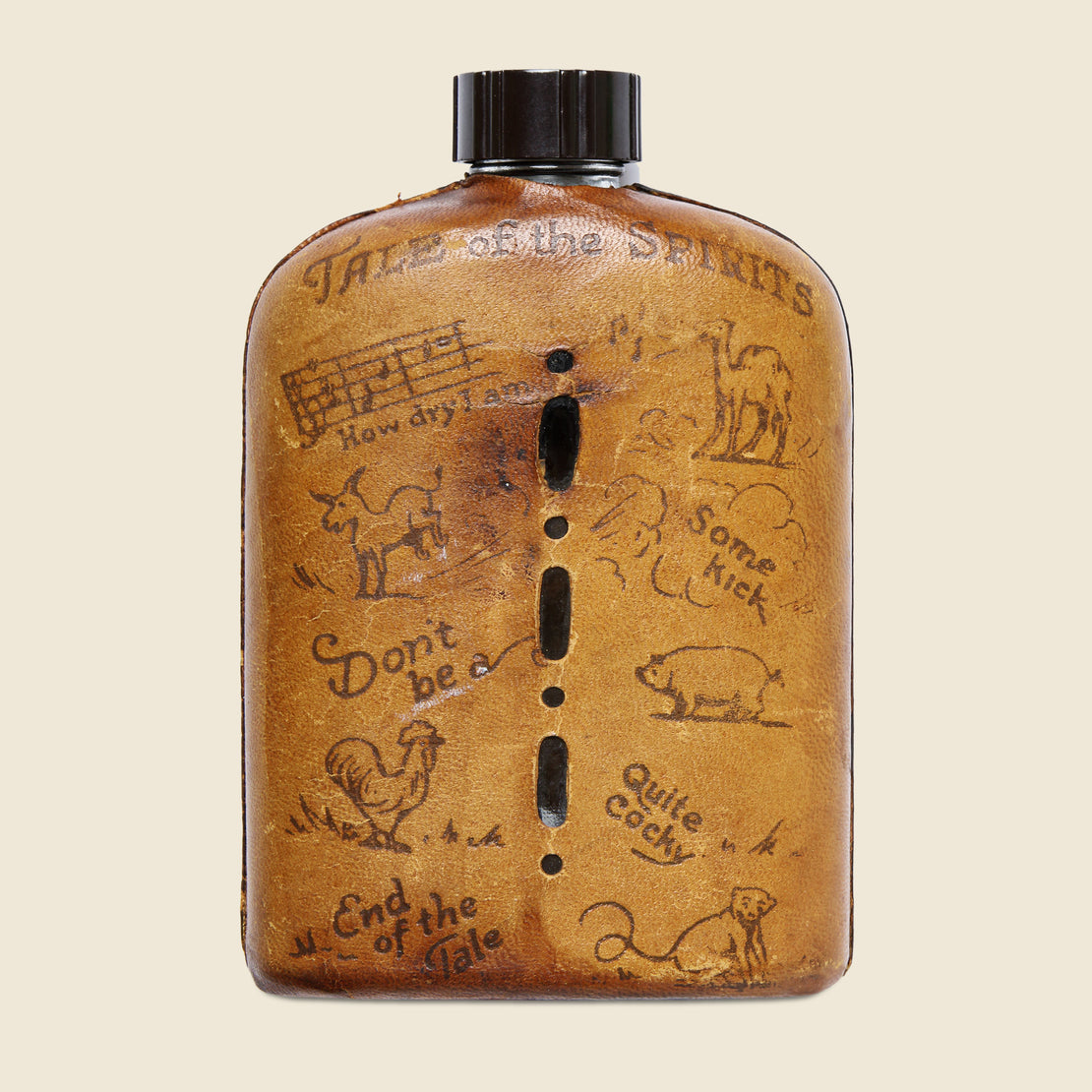"Stamped Leather Flask - ""Mohawk Trail"" - Vintage - STAG Provisions - Gift - Art"