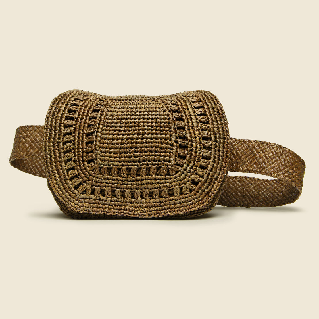 Maison NH Paris Alix Raffia Hip Bag - Sucre Brun