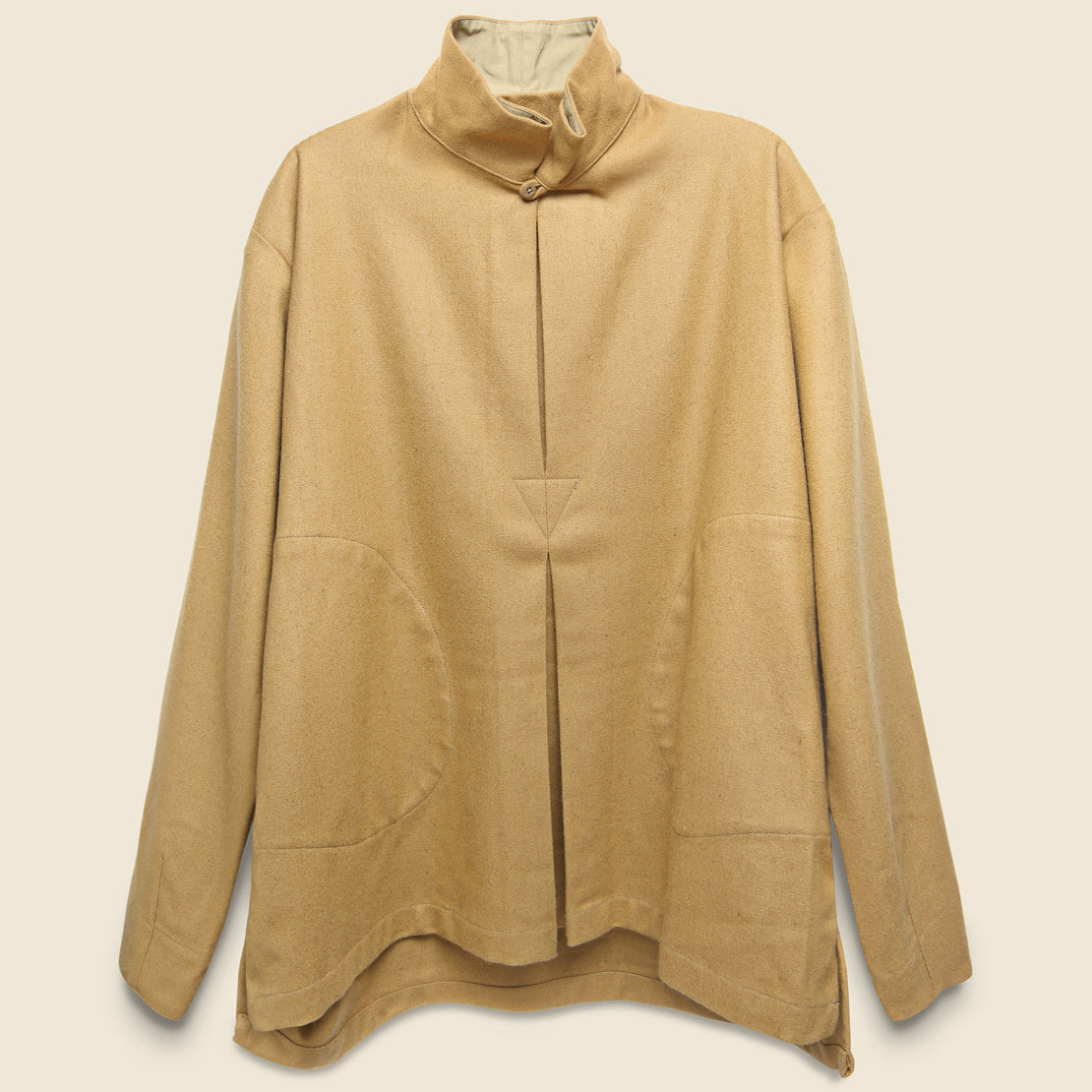 Monitaly Wool/Flannel Invert Pullover - Camel