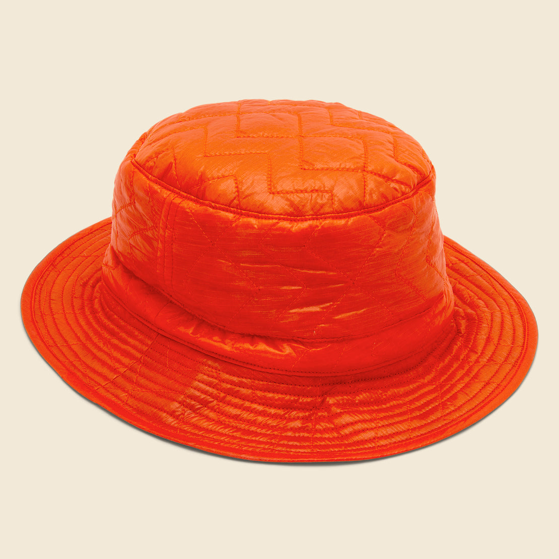 Monitaly Zigzag Quilted Bucket Hat - Orange
