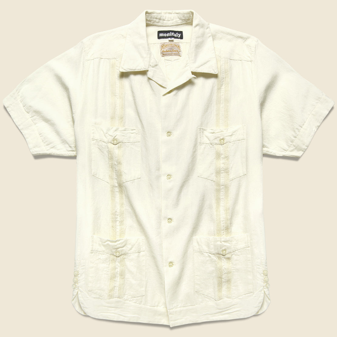 Monitaly Canul Manta Guayabera Shirt - Natural