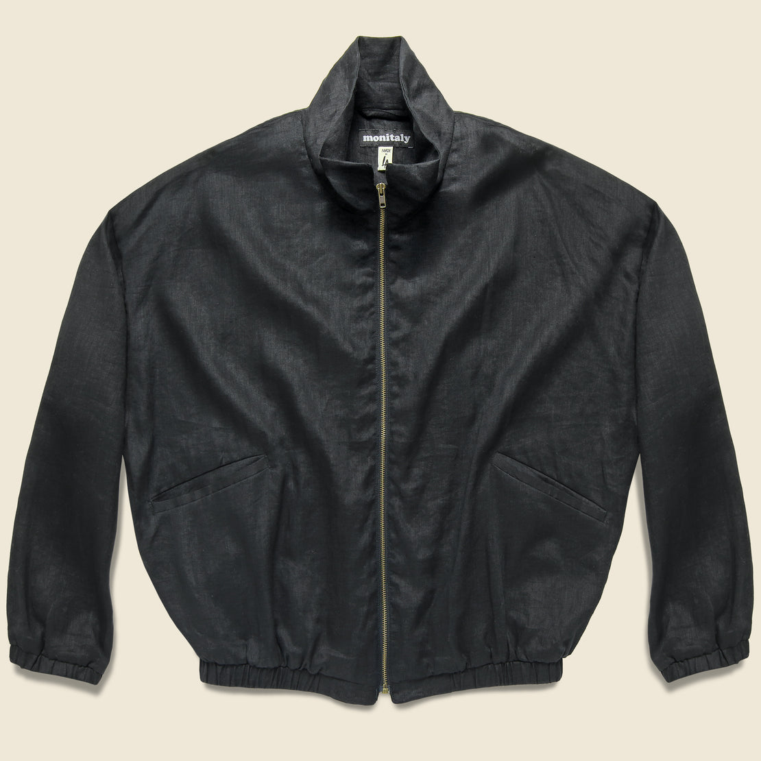 Monitaly Old Dog Linen Blouson Jacket - Black