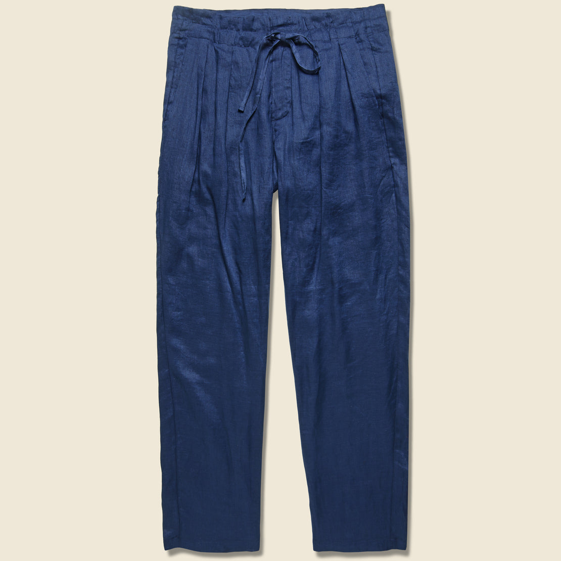 Monitaly Linen Gathered Waist Pant - Navy