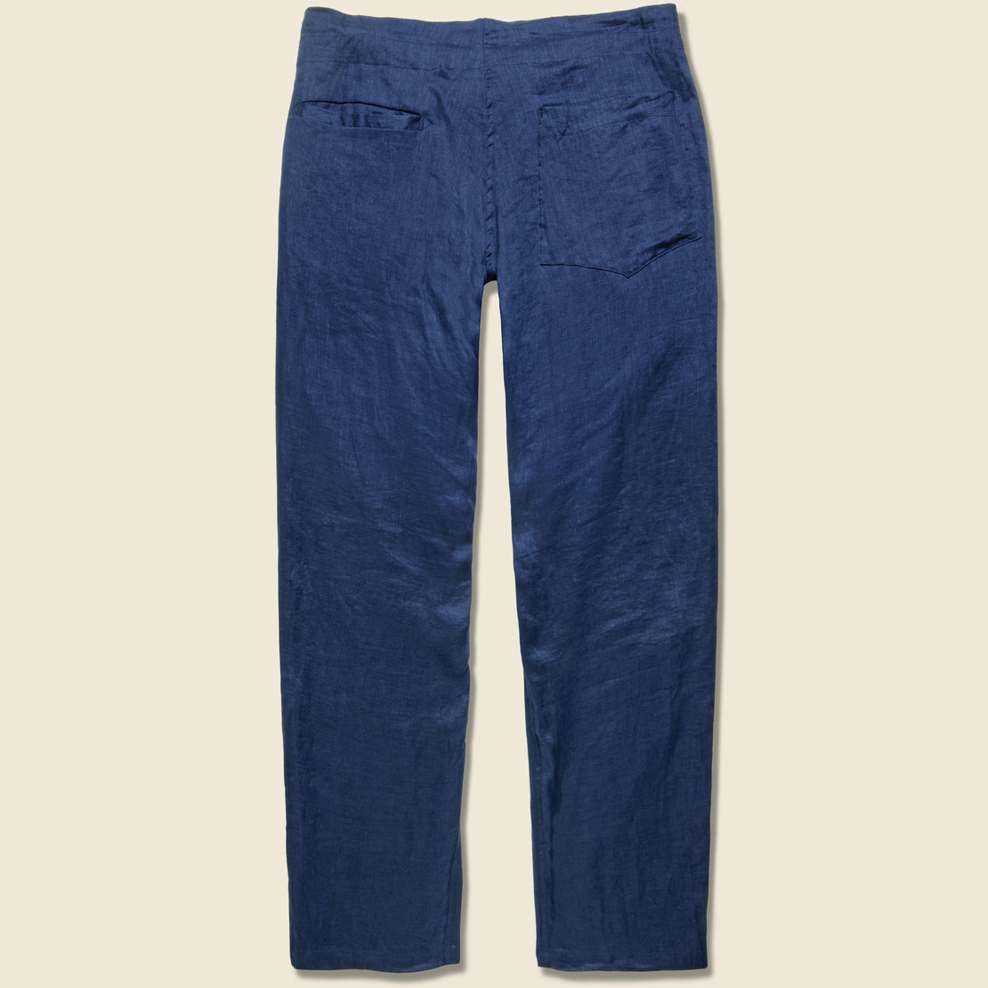Linen Gathered Waist Pant - Navy