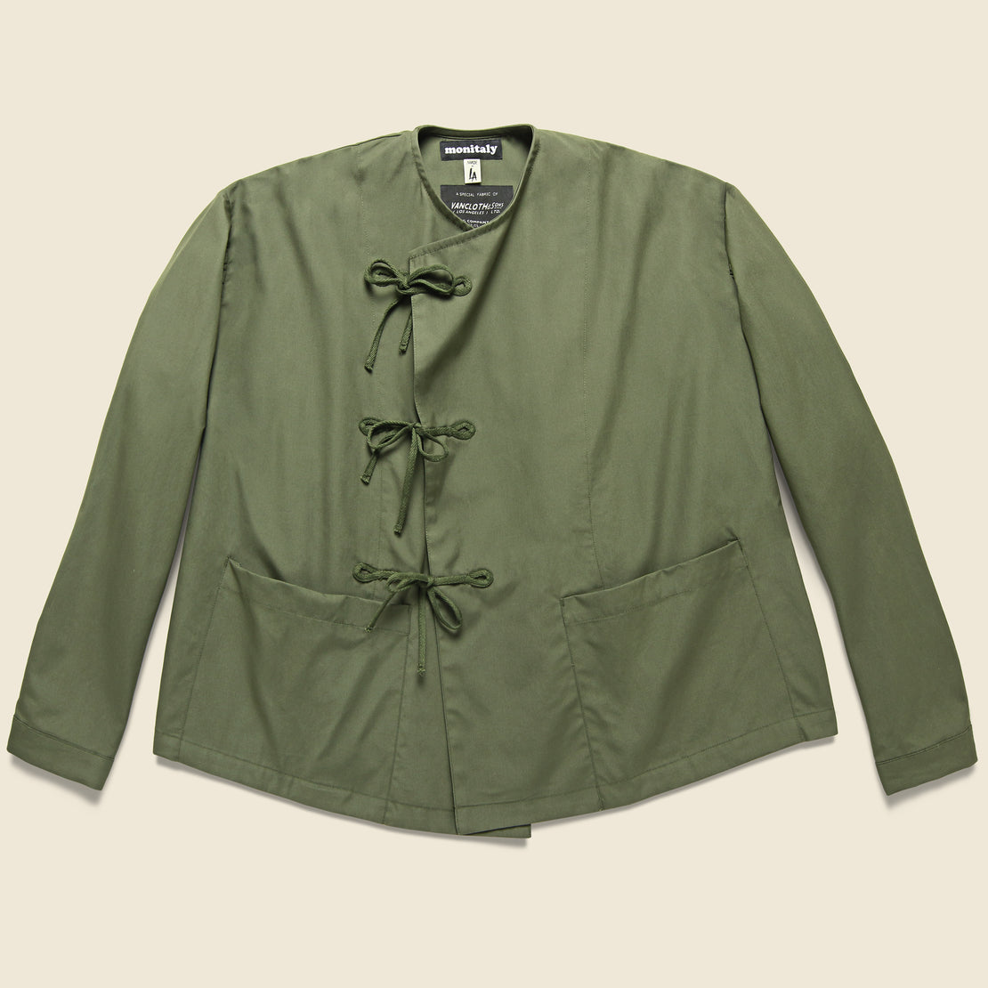 Monitaly Vancloth Cropped Field Tie Front Jacket - Olive