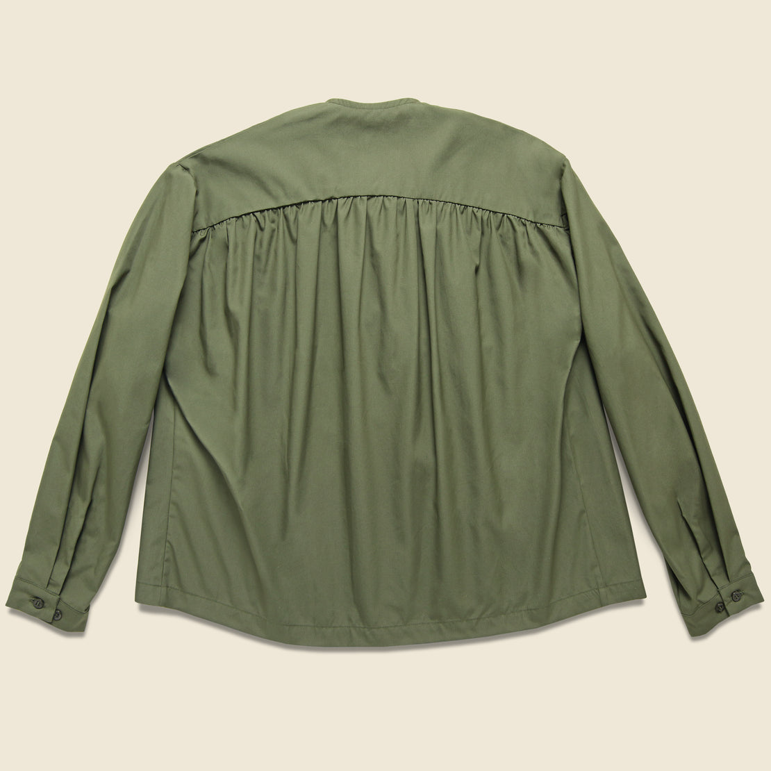 Vancloth Cropped Field Tie Front Jacket - Olive