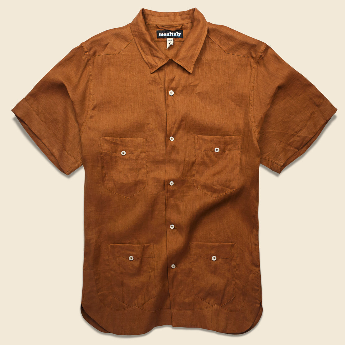 Monitaly Linen Guayabera Shirt - Brown