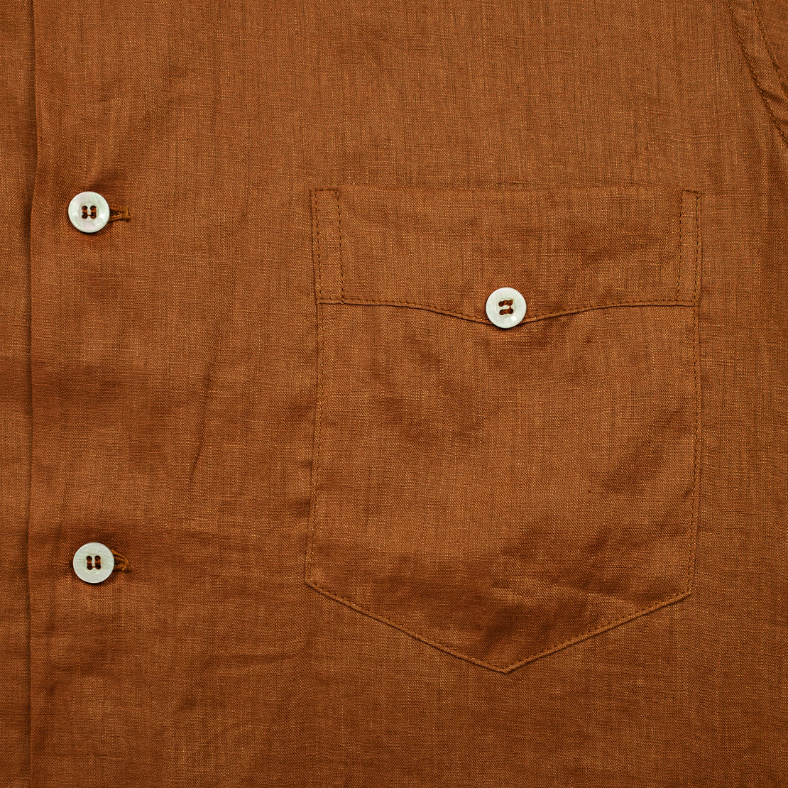 Linen Guayabera Shirt - Brown