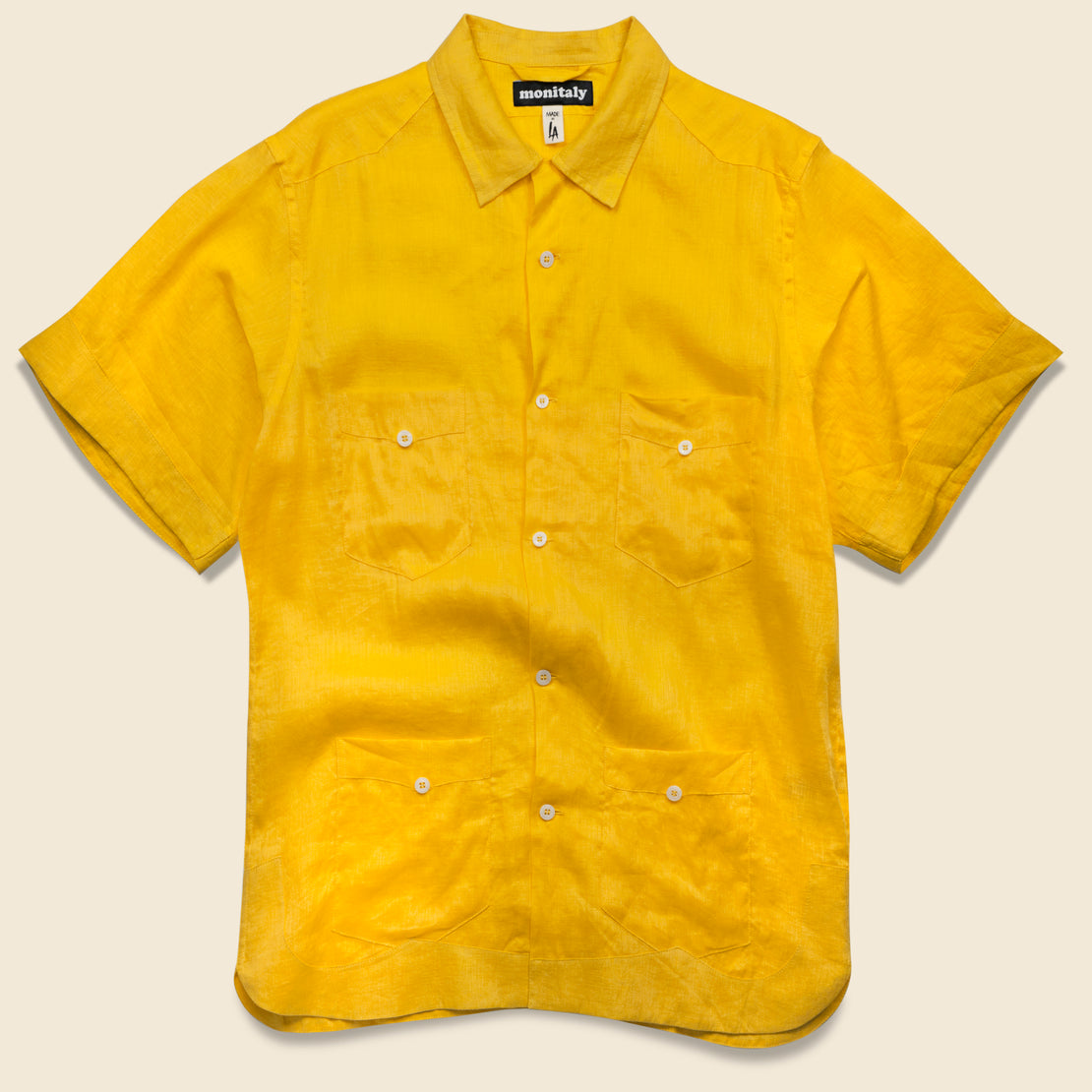 Monitaly Linen Guayabera Shirt - Yellow