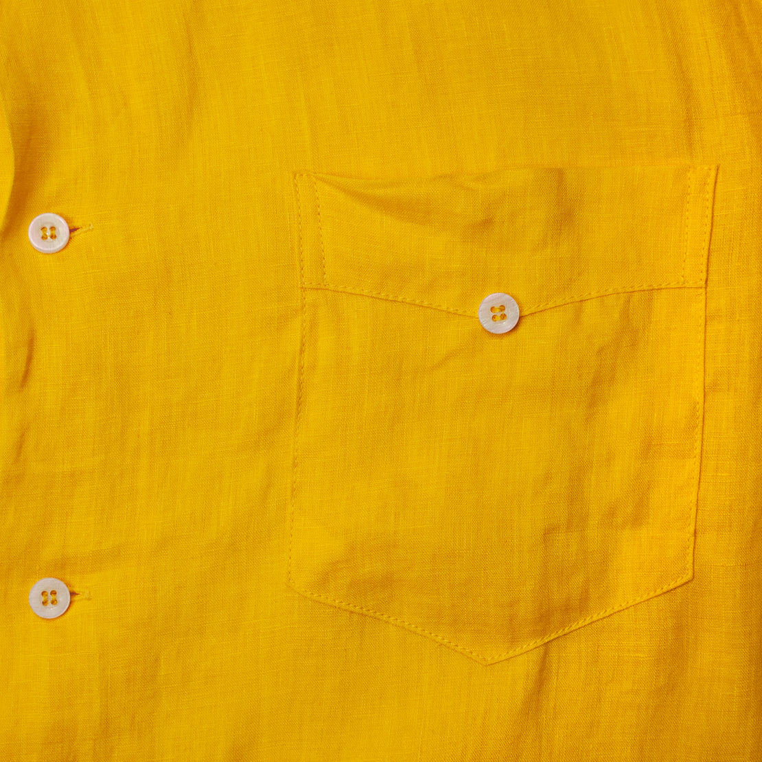 Linen Guayabera Shirt - Yellow