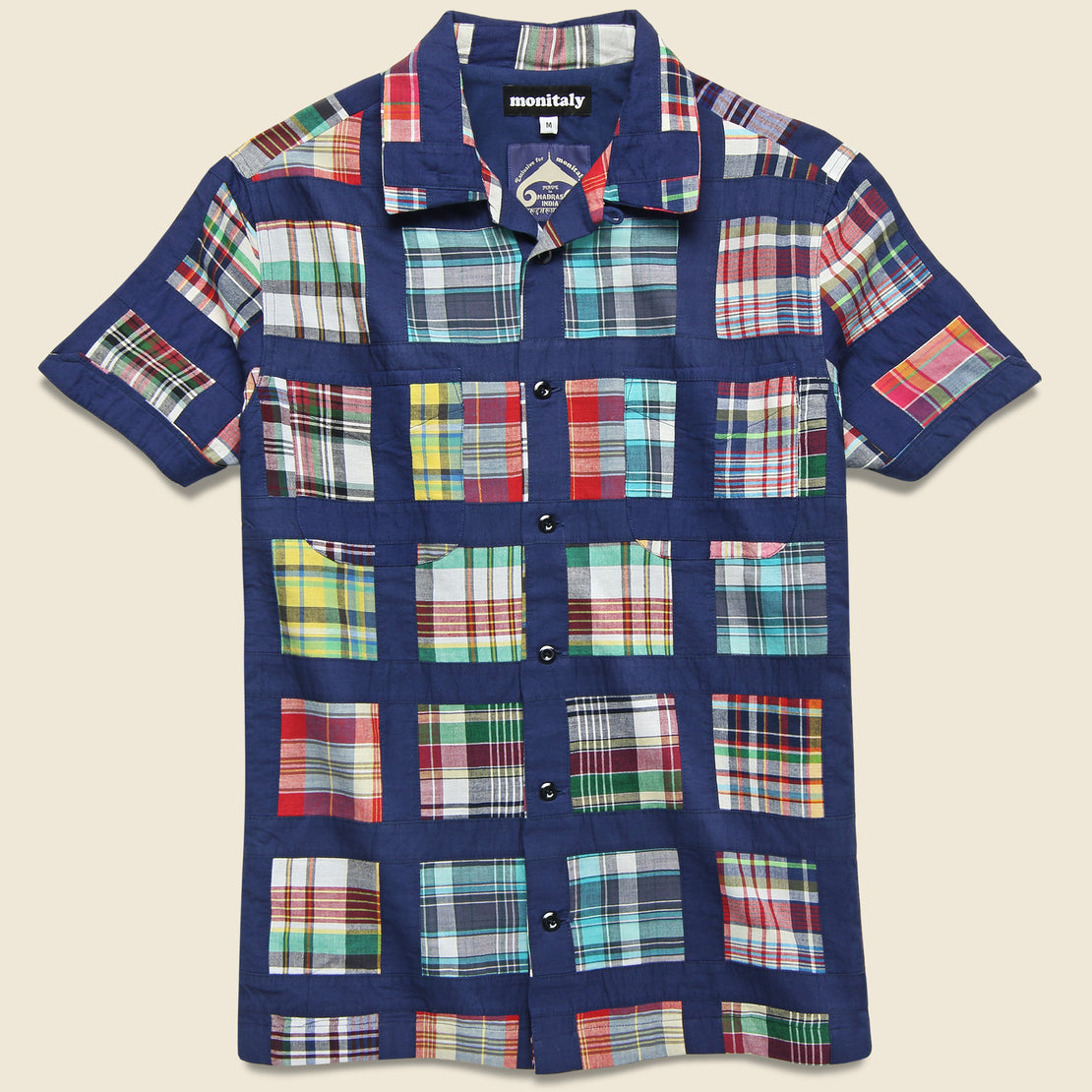 Monitaly Patchwork Vacation Shirt - Navy Madras