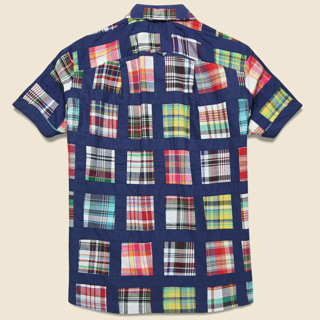 Patchwork Vacation Shirt - Navy Madras