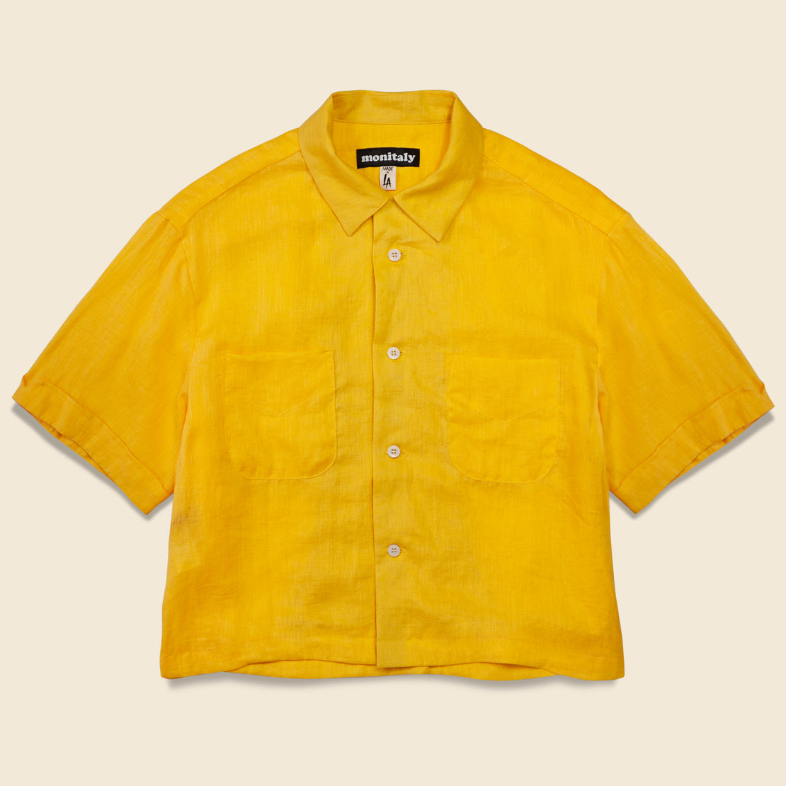 Monitaly Linen Cropped Vacation Shirt - Yellow