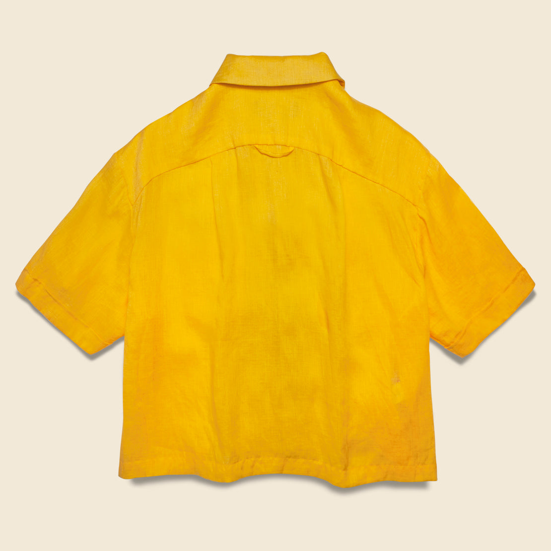 Linen Cropped Vacation Shirt - Yellow