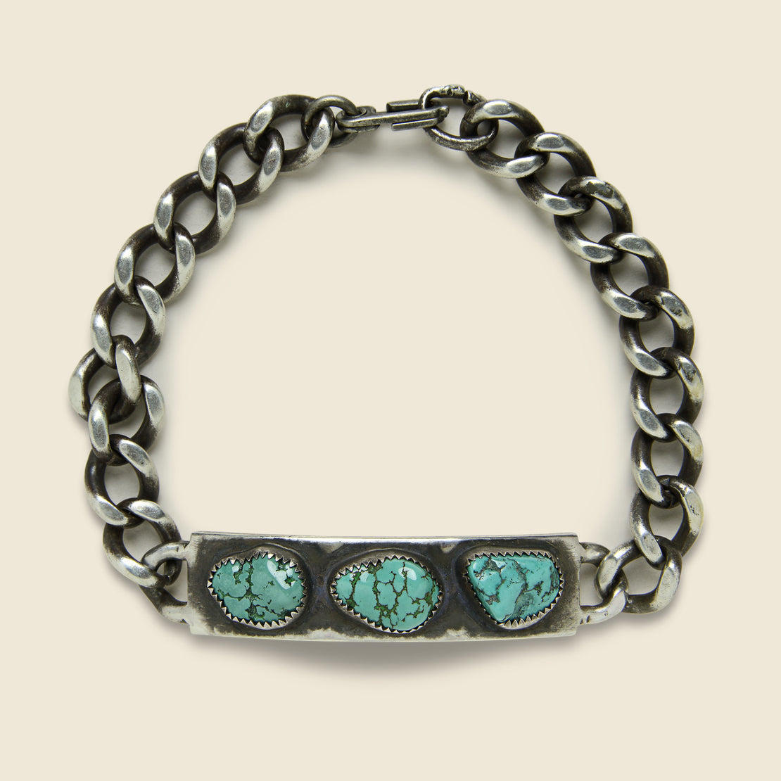 MANO Turquoise Fort Russel Three Stone Bracelet - Sterling Silver