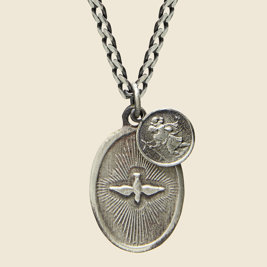 Dove Pendant Necklace - Polished Silver