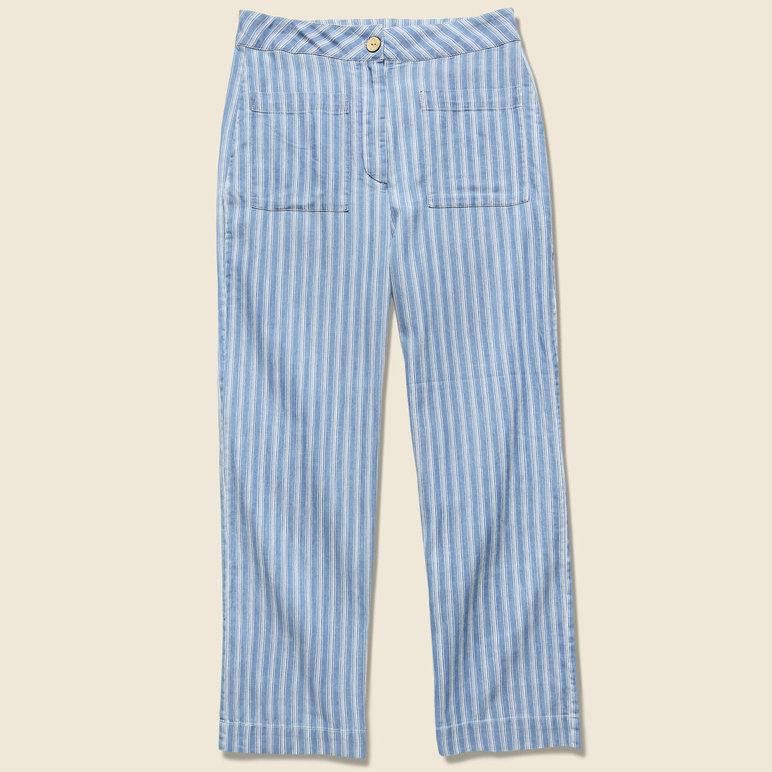 Nice Things Striped Denim Culotte Pant - Blue