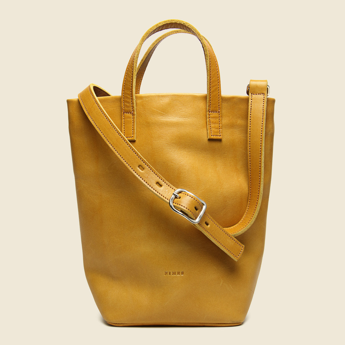 Nimes Small Barracas Leather Tote Bag - Caramel