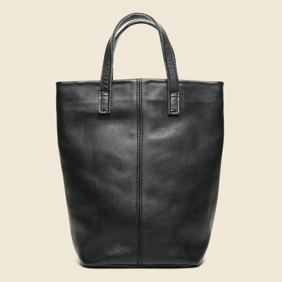 Small Barracas Leather Tote Bag - Black