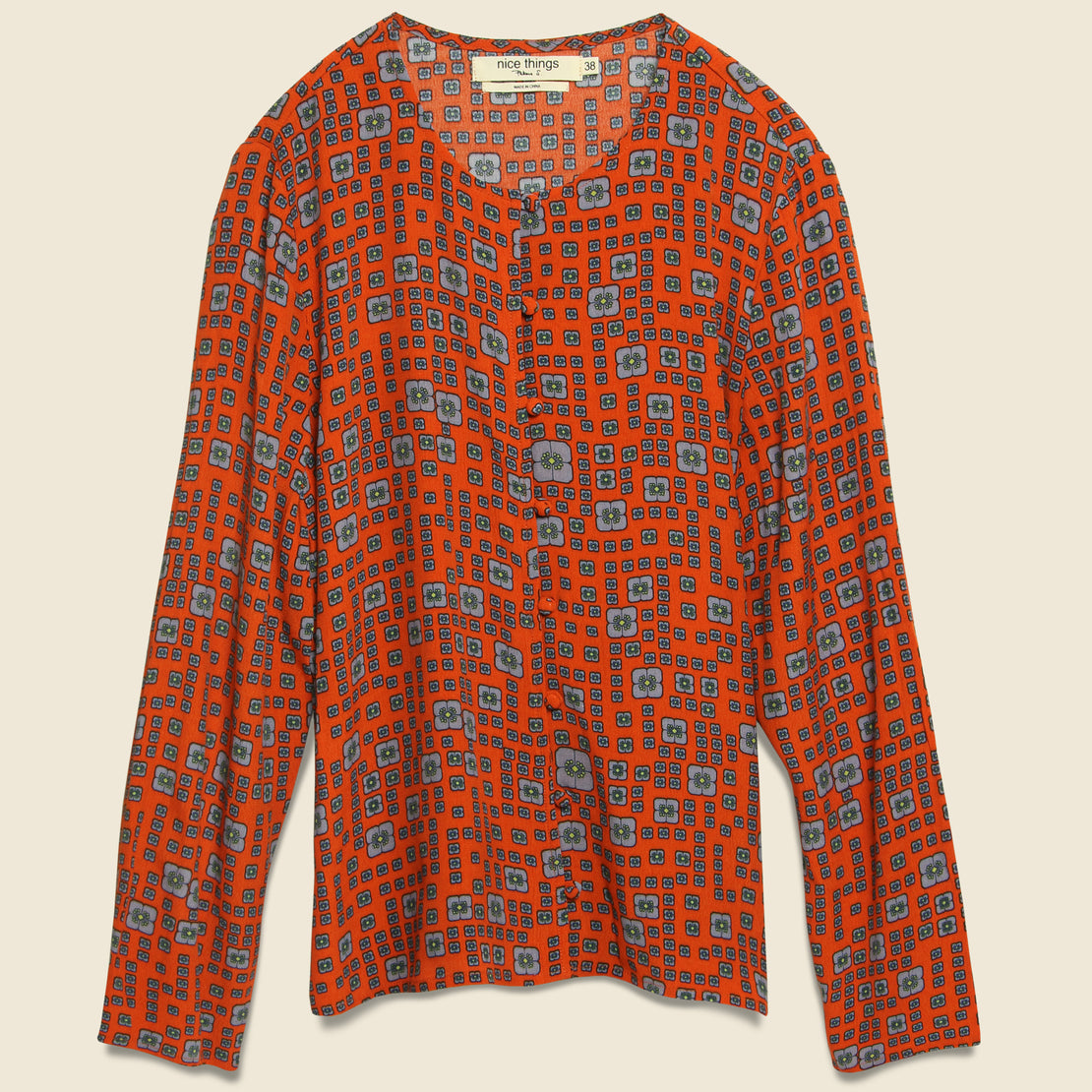 Nice Things Labyrinth Print Shirt - Red