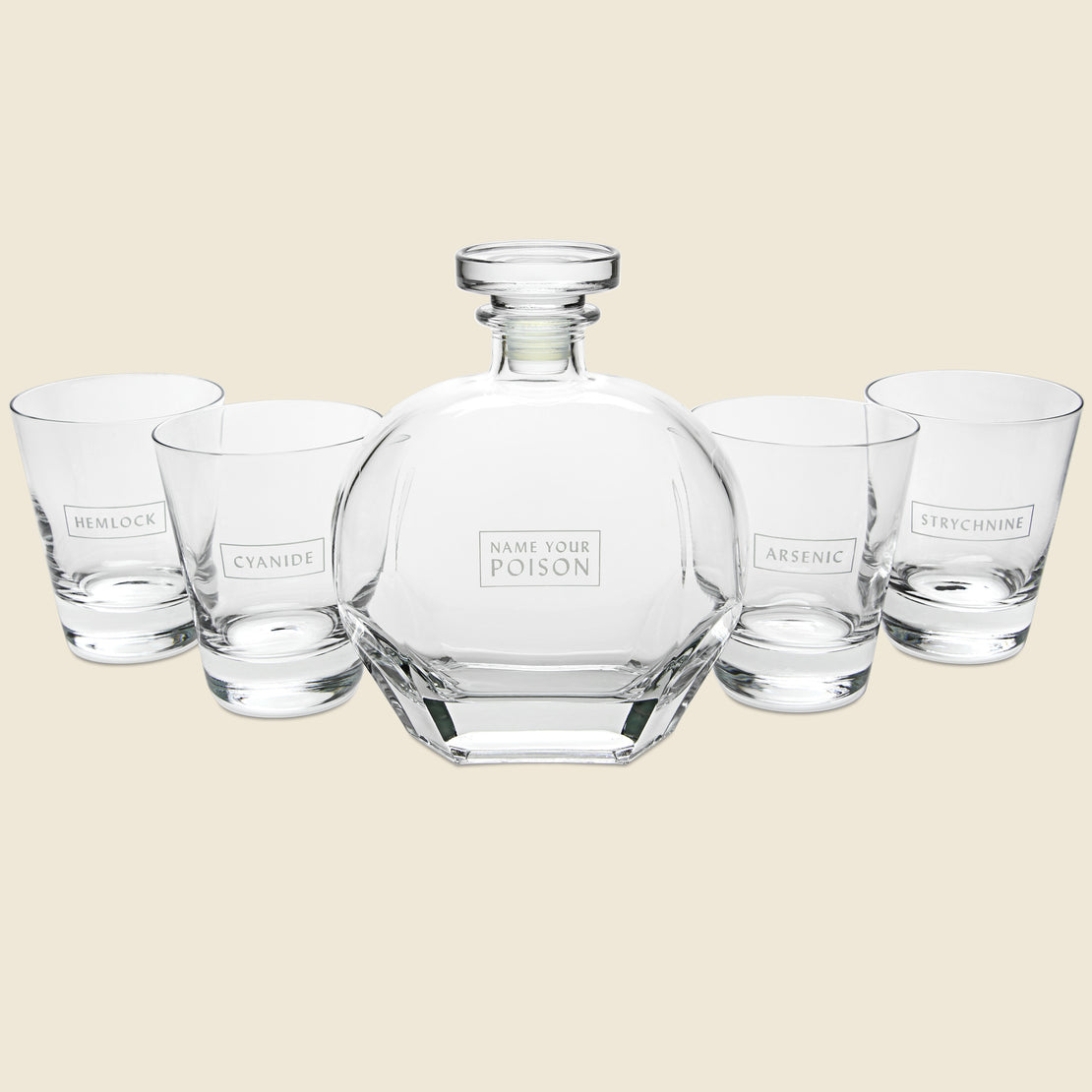 Barware Decanter & Tumbler Set - Name Your Poison