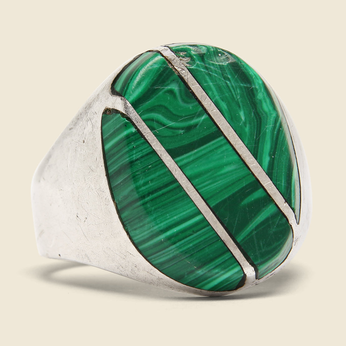 Vintage Diagonal Malachite Ring - Sterling Silver