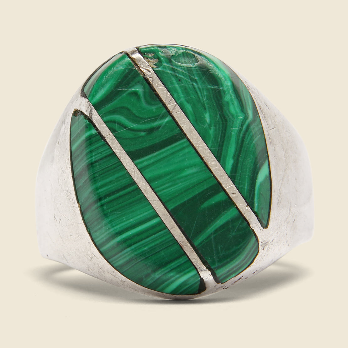 Diagonal Malachite Ring - Sterling Silver