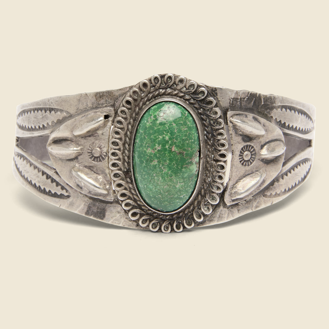Vintage Stamped & Carved Turquoise Cuff - Sterling Silver