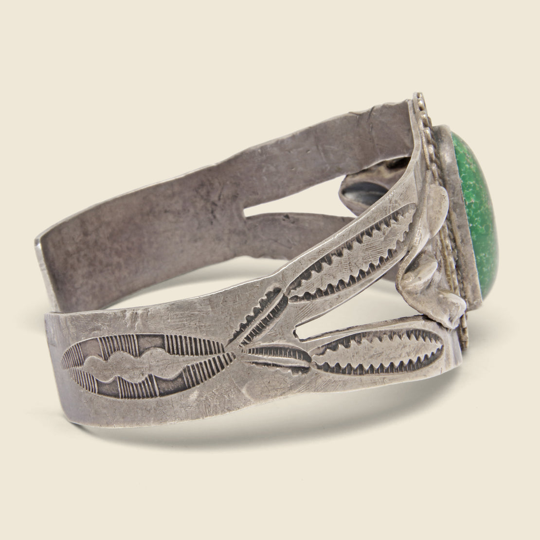 Stamped & Carved Turquoise Cuff - Sterling Silver