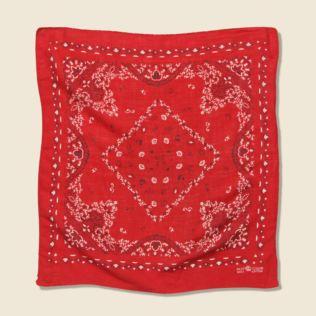 Vintage Fast Color Bandana - Red & White Paisley