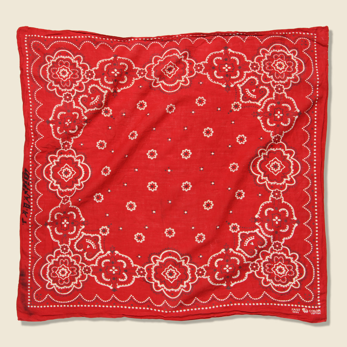 Vintage Fast Color Bandana - Red & White Paisley/Dotted Border