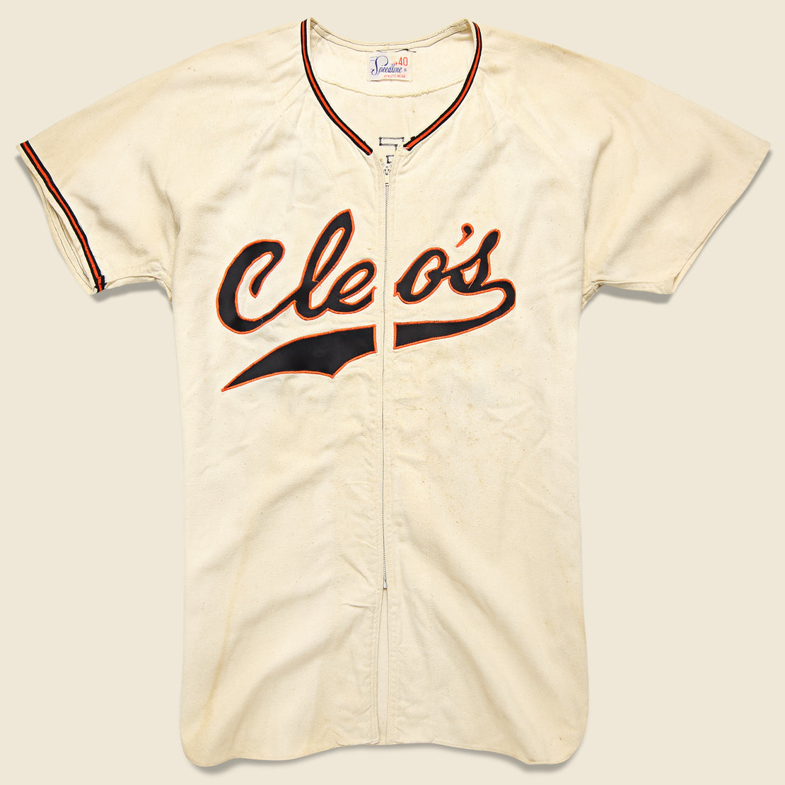 Vintage Cleo's Car Wash Zip Up Jersey - Cream