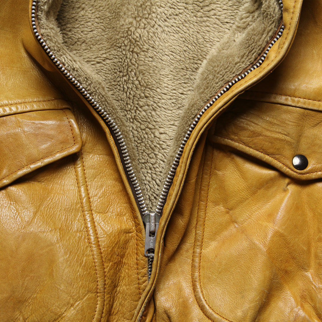 Sherpa-Lined Leather Bomber Jacket