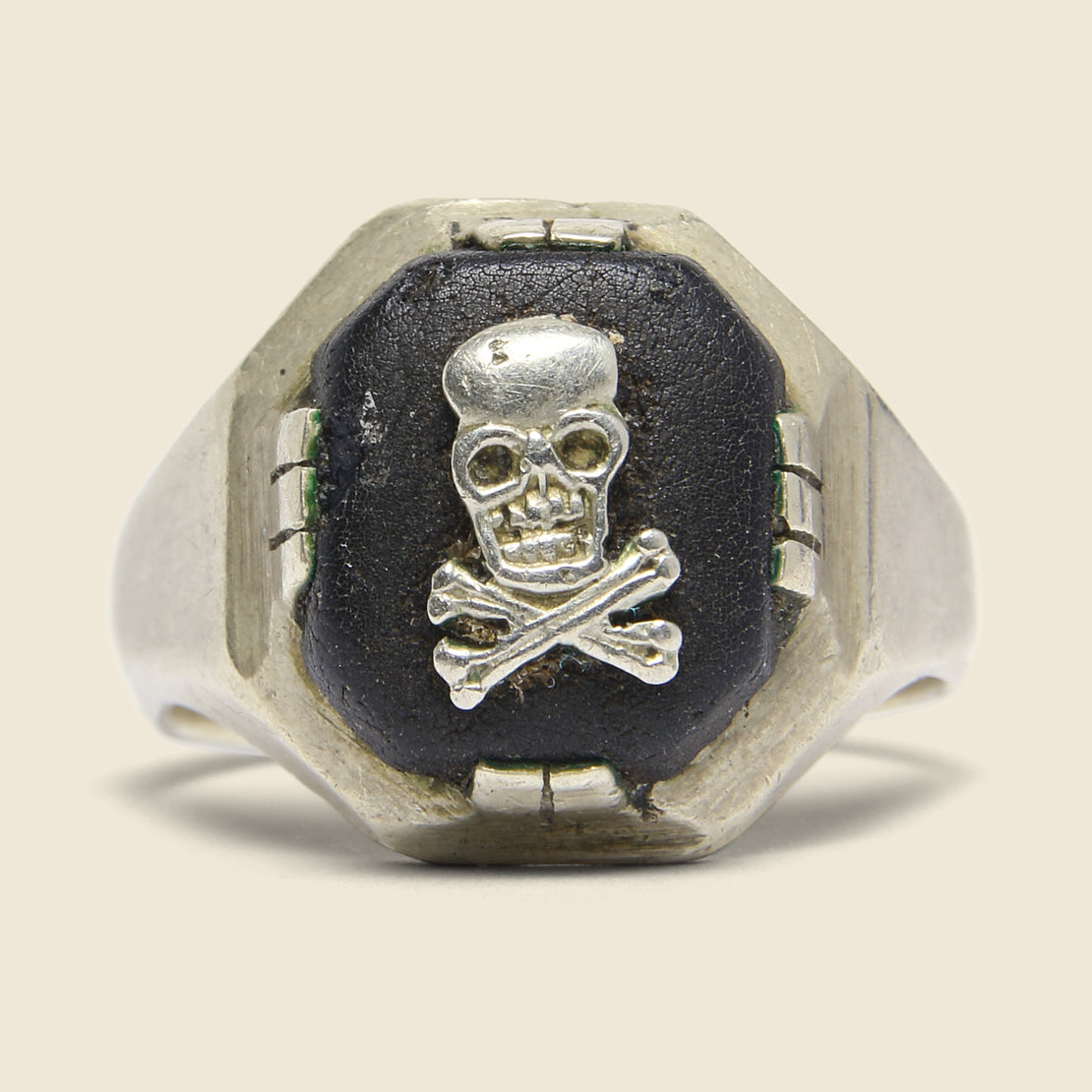 Skull Ring - Sterling Silver & Black Leather