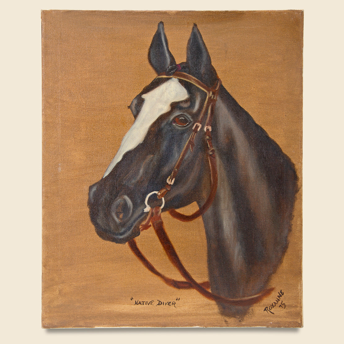 Vintage Native Diver Horse Painting