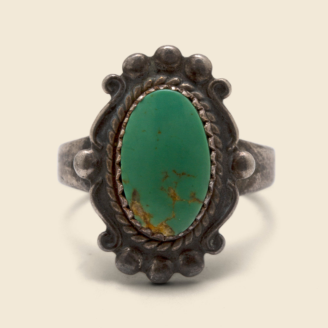 Oval Scalloped Turquoise Ring - Sterling Silver