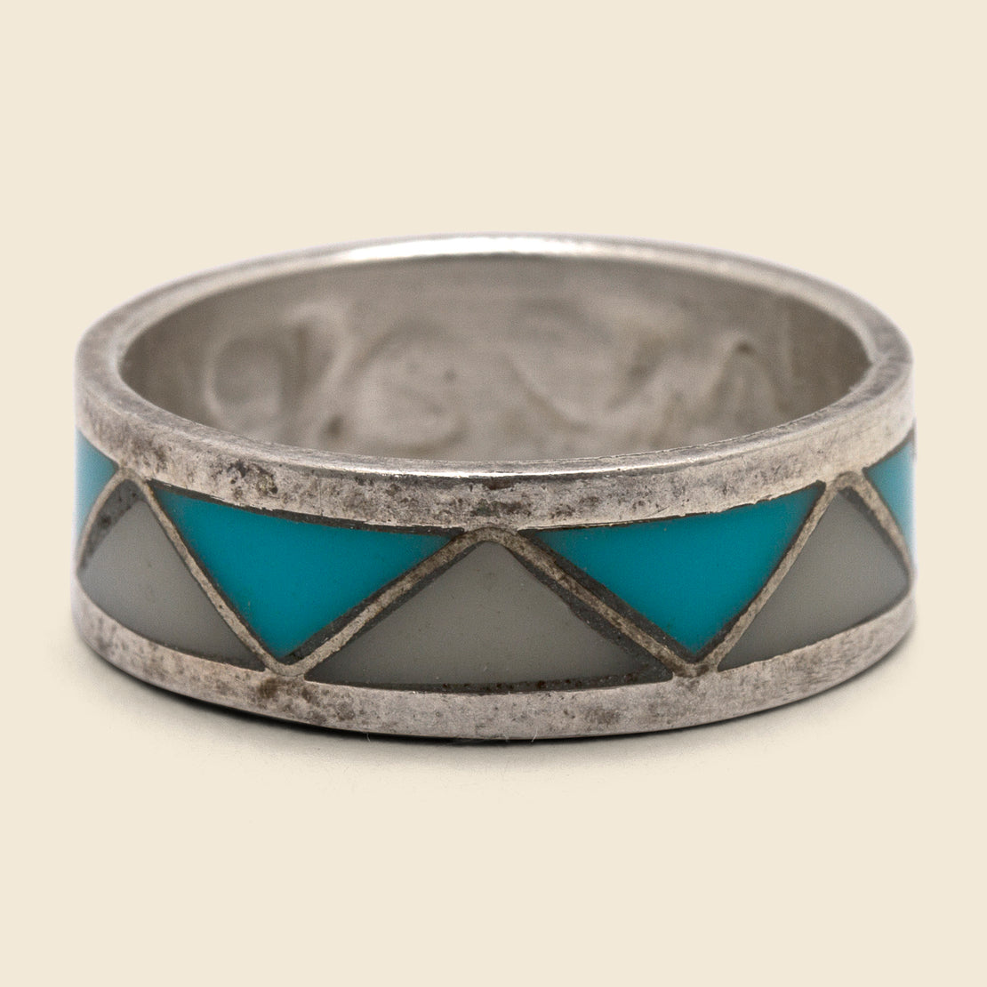 Vintage White Coral & Turquoise Inlay Band - Silver