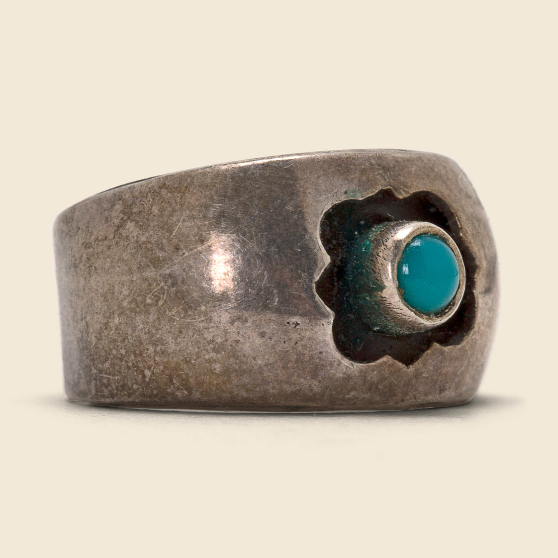 Vintage Band with Floating Turquoise - Sterling Silver