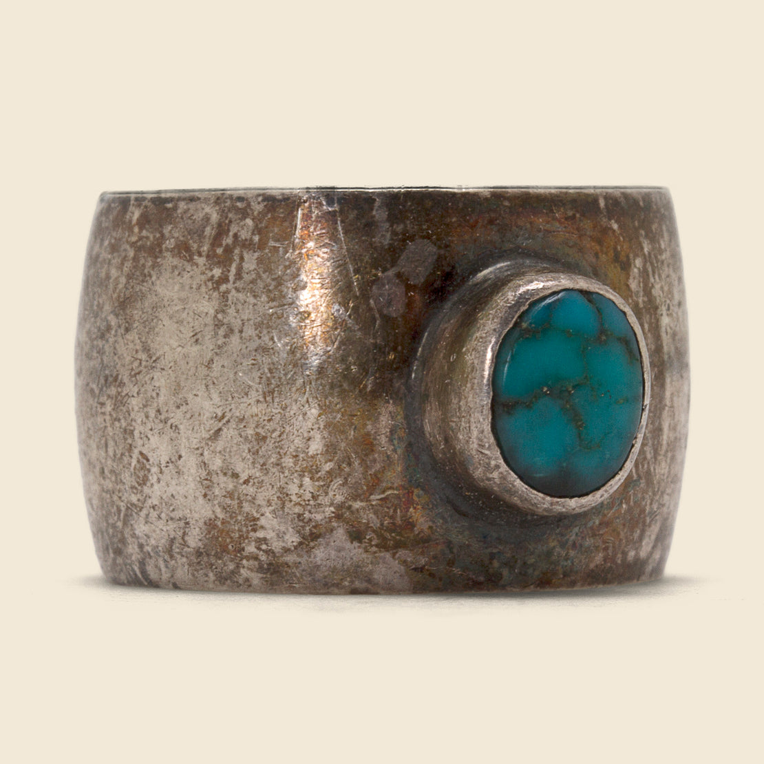 Vintage Thick Band Turquoise Ring - Silver