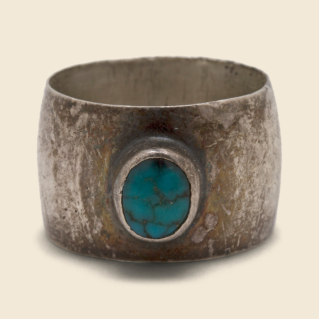 Thick Band Turquoise Ring - Silver