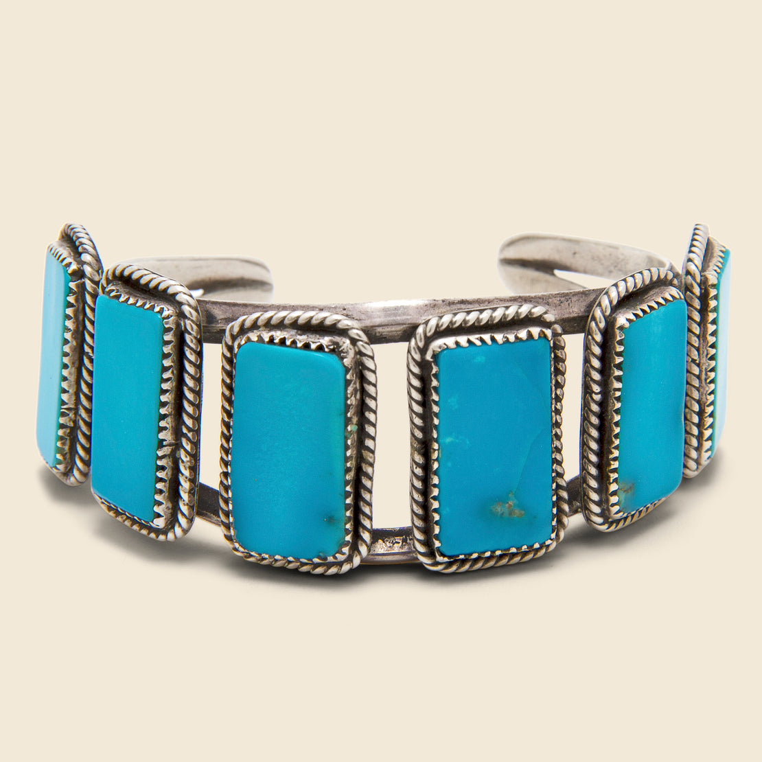 Vintage Six Stone Turquoise Cuff - Silver