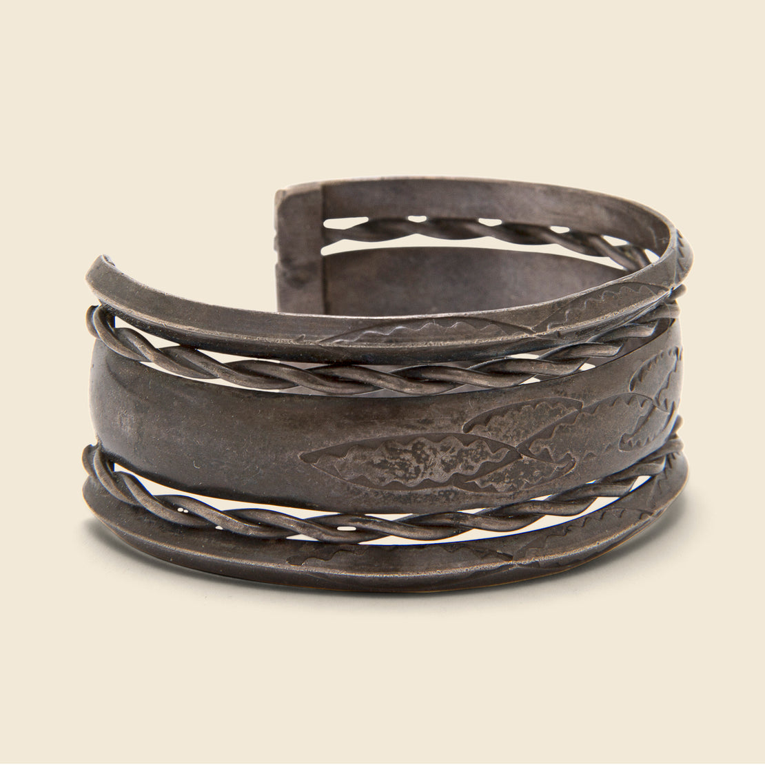 Carved & Stamped Sterling Silver Cuff